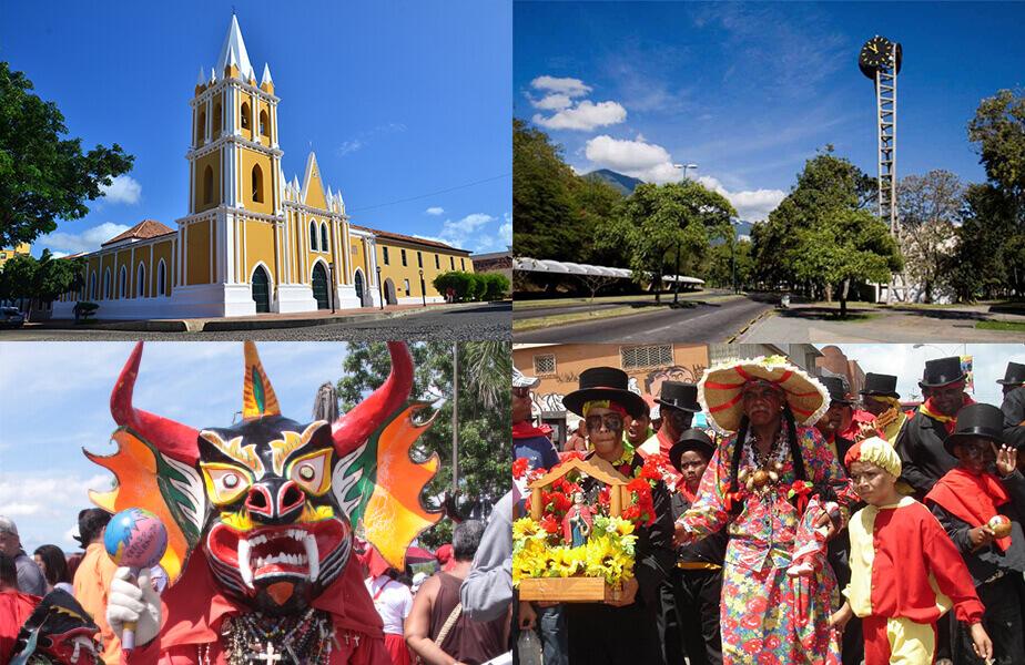 (Clockwise) 1- サンタアナ・デ・コロ(ファルコン州)の サンフランシスコ教会 2- カラカス大学都市の時計台 3-ジャレの悪魔の踊り ミランダ州サン・フランシスコ・デ・ジャレ 4- グアレナスとグアティレの 聖ペドロの祭り